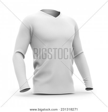 Men's v-neck t shirt with long sleeves. Half-front view. 3d rendering. Clipping paths included: whole object, collar, sleeve.