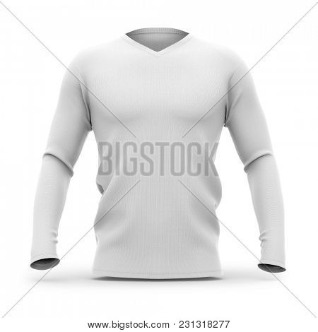 Men's v-neck t shirt with long sleeves. Front view. 3d rendering. Clipping paths included: whole object, collar, sleeve.