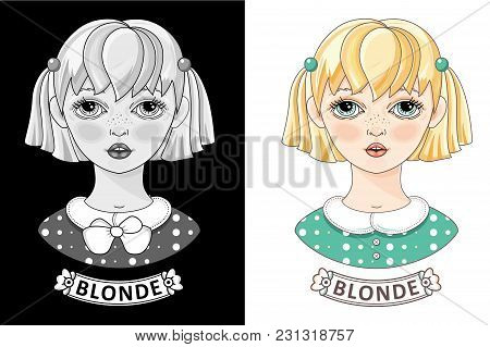 Face Of A Pretty Blonde. Cartoon Blonde Girl. Cute Little Teen. Vector. Color, Monochrome Black And