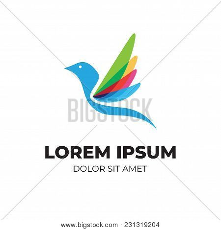 Abstract Colorful Bird, Modern Logo With Overlapping Vibrant Color