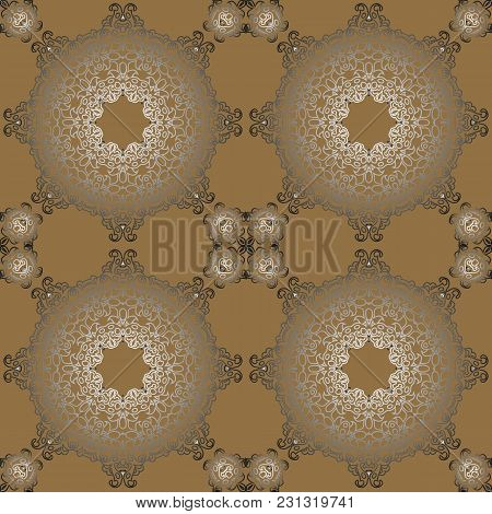 Vintage Retro Ceramic Tile Pattern Vector Antique Patter Can