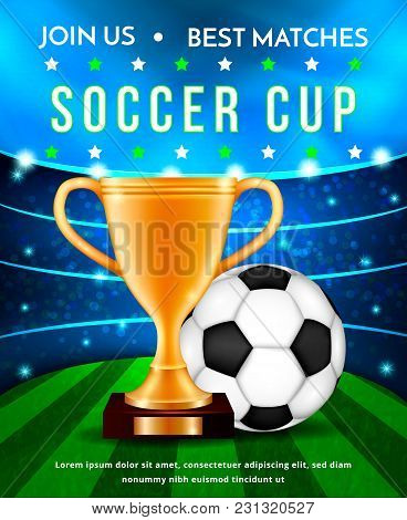 Football Soccer Cup, Vector Illustration Concept.golden Sport Championship Trophy And Soccer Ball On