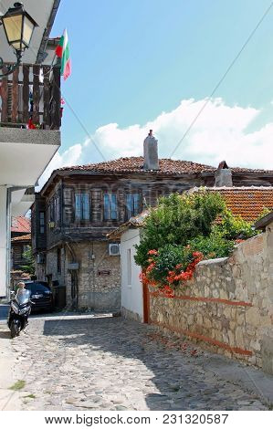 Nesebar, Bulgaria - 12 July 2015: Typical Nesebar Houses And Souvenir Shops In The Old Town