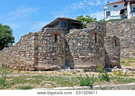 Sozopol, Bulgaria - 12 July 2015: Ruins Of The Medieval Monastery Of St. Nicholas. Located 35 Km Sou