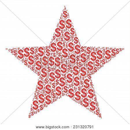 Fireworks Star Collage Of Dollar Symbols. Vector Dollar Symbols Are Composed Into Fireworks Star Mos