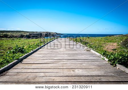 Wooden Catwalk To The Sea