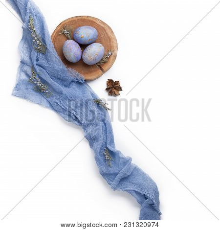 Easter Composition With Eggs And Textile.