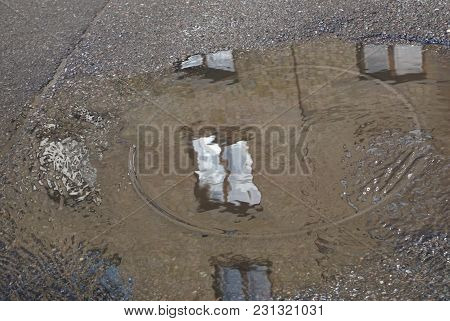Many Windows Reflected In Puddle. Grey Asphalt  Surface,  Spring. Rain Road Reflection. Flooded Hous