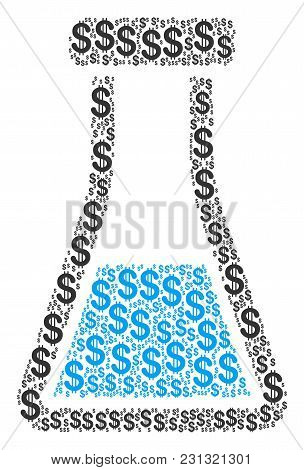 Flask Mosaic Of American Dollars. Vector Dollar Symbols Are Grouped Into Flask Illustration.
