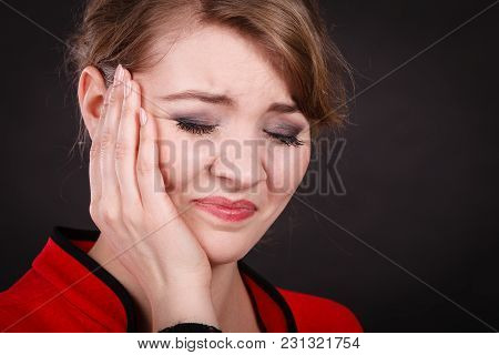 Stress And Pain. Face Of Young Painful Woman. Female Feeling Tooth Pain Ache. Girl Touching Her Mout