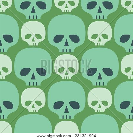 Seamless Pattern With Skull. Vintage Background With Skeleton Head. Vector Illustration.