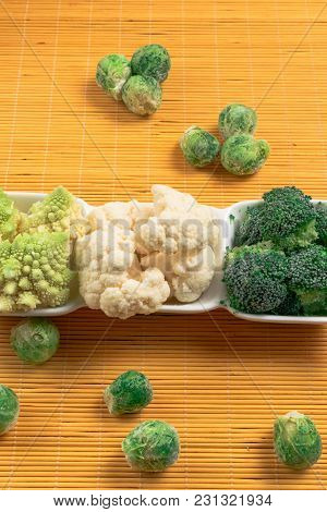 Fresh Organic Mix- Brussels Sprout, Broccoli, Cauliflower, Romanesque In White Bowl