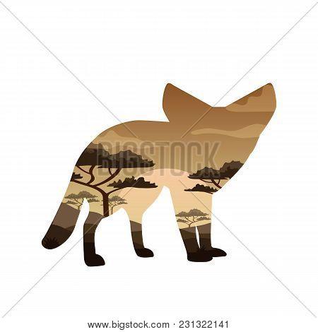 Vector Illustration Double Exposure. Fennec Fox Vulpes Zerda Wildlife Concept