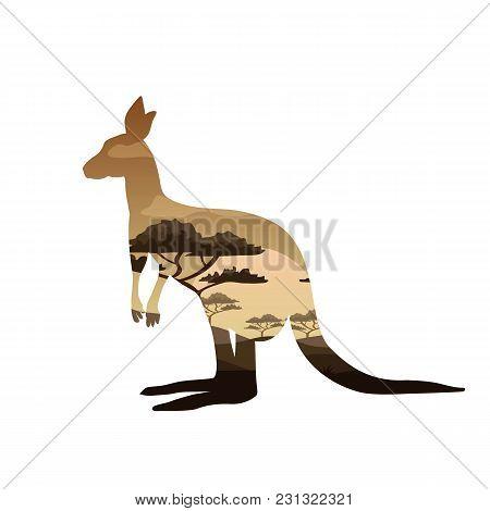 Kangaroo Double Exposure Nature Art. Symbol Of Australia, Travel And Tourism. Kangaroo T-shirt Desig