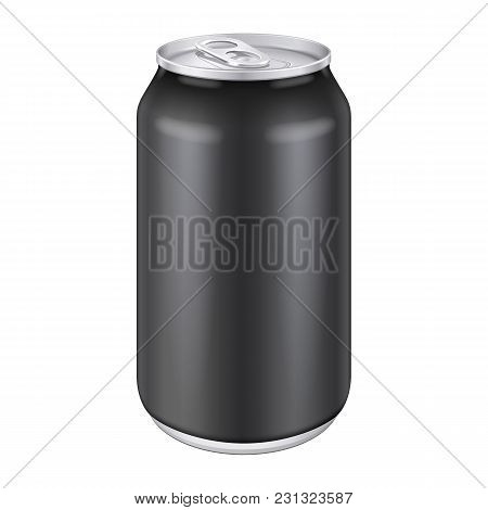 Black Metal Aluminum Beverage Drink Can 500ml. Ready For Your Design. Product Packing Vector Eps10