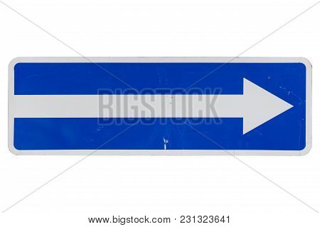 One Way Street In Direction Of Arrow Road Sign Isolated On White