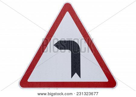 Road Sign 'bend To Left' Isolated On White