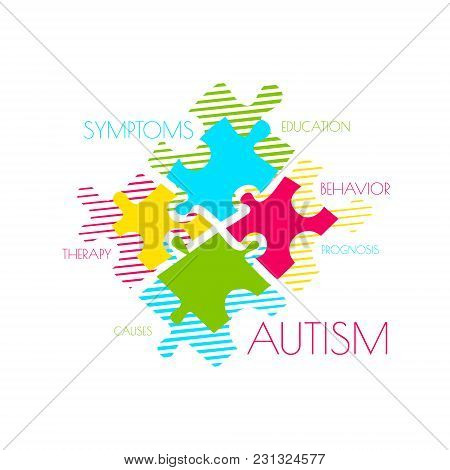 Autism Awareness Poster With Puzzle Pieces And Word Cloud On White Background. Social Interaction An