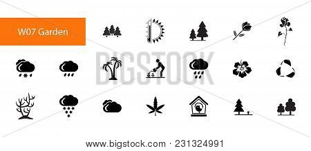 Nineteen Garden Flat Vector Icons Collection On White Background. Can Be Used For Topics Like Hortic
