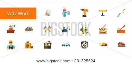 Nineteen Manual Work Flat Vector Icons Collection On White Background. Can Be Used For Topics Like O