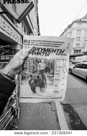 Paris, France - Mar 15, 2018: Argumenty I Fakty Russian Newspaper Featuring The Photograph Of Vladim