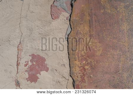 Old Chipped Plaster On The Concrete Wall, Chipped Paint, Abstract Concrete, Texture Background