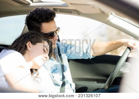 Couple On A Long Road Trip