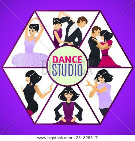 Dance Studio Template. Composition With Different Dance Styles In Cartoon Style For Fliers Posters P