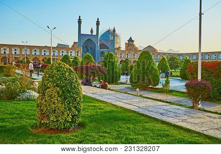 Isfahan, Iran - October 20, 2017: The Splendid Naqsh-e Jahan Square, Famous For Its Medieval Landmar