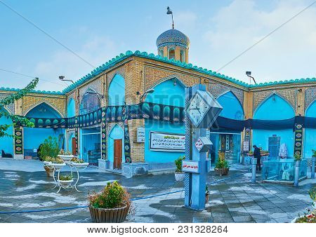 Isfahan, Iran - October 20, 2017: The Courtyard Of Imamzadeh Ahmad Mosque Is Decorated With Numerous