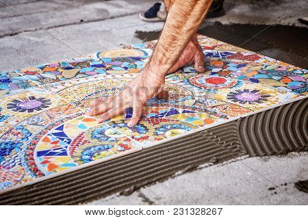 Process Of Laying Floor Ceramic Tiles, Installation Of Tiles On The Glue
