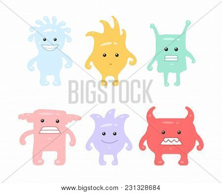 Colorful Cute Monsters Set. Isolated On White Background