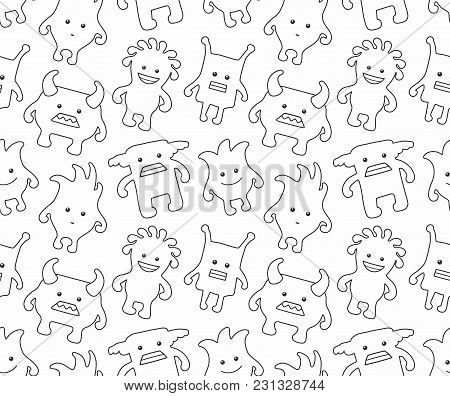 Seamless Monsters Pattern. Thin Line Style. Isolated On White Background