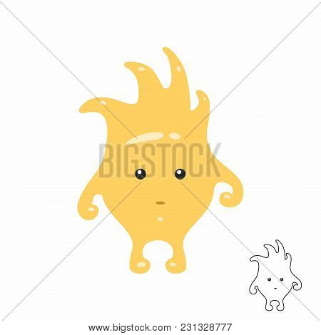Cute Yellow Cartoon Monster. Isolated On White Background