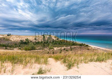 Storm Clouds Move Over Lake Michigan, Towards Sleeping Bear Dunes National Lakeshore, Near Glen Arbo