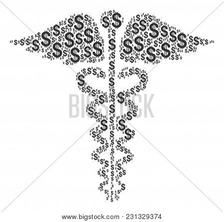 Medical Caduceus Emblem Collage Of Dollars. Vector Dollar Pictograms Are Grouped Into Medical Caduce