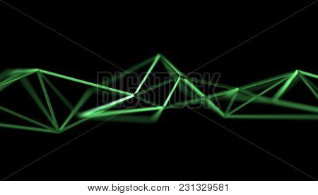 Abstract 3d Rendering Of Triangulated Surface. Modern Background. Futuristic Polygonal Shape. Low Po