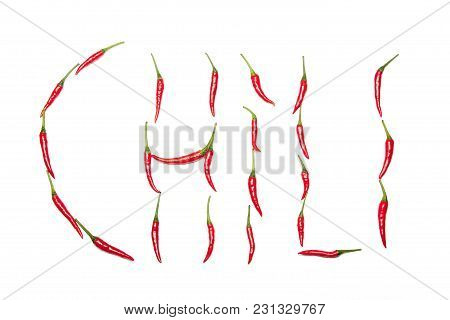 Chili Written In Chilis On White Background