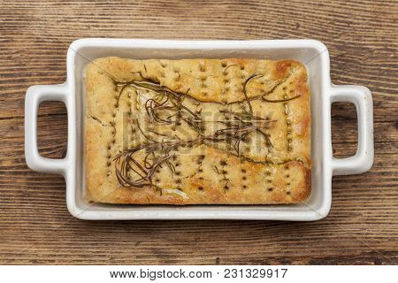 Overview Of Italian Focaccia Bread On Wood