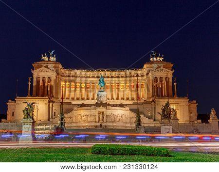 Altar Of The Fatherland, Altare Della Patria . National Monument Vitorio Emmanuel Ii On Plaza Venezi