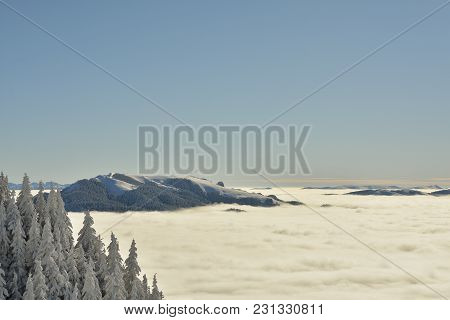 Romanian Winter Landscape - Bucegi Mountains In Poiana Brasov Resort, Romania
