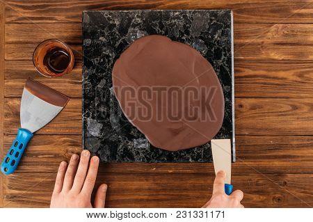 Homemade Chocolate Glaze Photographed Closeup With Natural Light