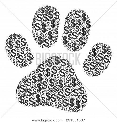 Paw Footprint Collage Of American Dollars. Vector Dollar Currency Pictograms Are Grouped Into Paw Fo