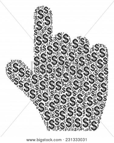 Pointer Finger Collage Of American Dollars. Vector Dollar Pictograms Are Combined Into Pointer Finge