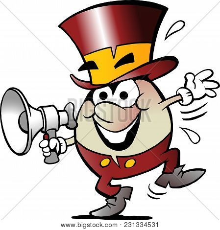Cartoon Vector Illustration Of A Happy Golden Egg Who Speaks In A Megaphone