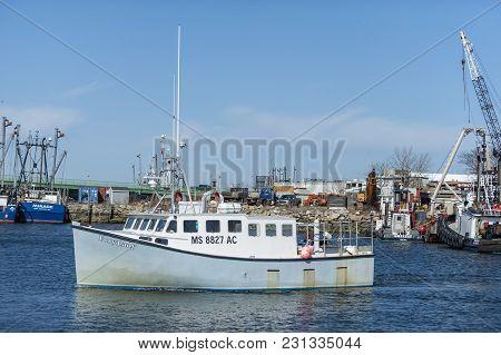 New Bedford, Massachusetts, Usa - February 28, 2018: Fishing Boat Foxy Lady Passing Fish Island On T