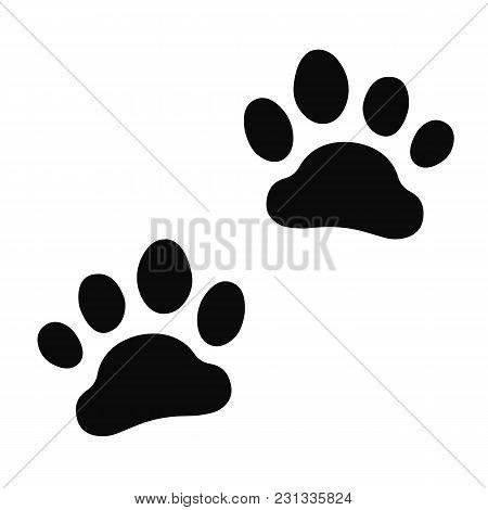 Dog Paw Print Set. Paw Icon. Vector.