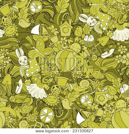 Retro Styled Monohrome Hand Drawn Background. Spring Symbols And Objects On Colorful Seamless Patter