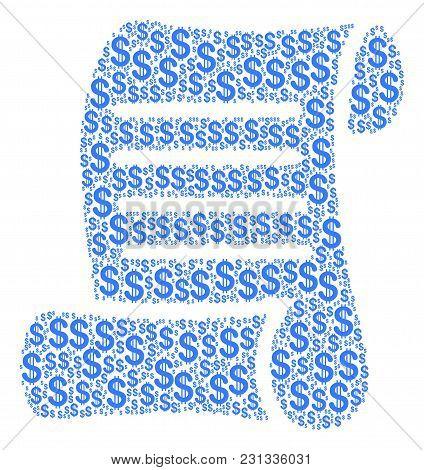Script Roll Collage Of Dollar Symbols. Vector Dollar Symbols Are United Into Script Roll Mosaic.