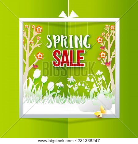 Spring Sale With Meadow With Flowers On Green Background. Grass, Tulips, Chamomiles, Trees Cut Out F